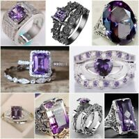 Elegant 925 Silver Jewelry Women Wedding Rings Emerald Cut Amethyst Size 5-12