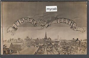 Postcard Rotherham Yorkshire advertising Fisher for Teeth market Dentist RP