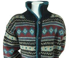 Dobrila Mens Pure Wool Multi Color Cardigan Sweater Handknitted in Yugoslavia