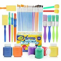 Complete Set of 30 Paint Brushes Bundle with Crayola Washable Kid's Paint (6)