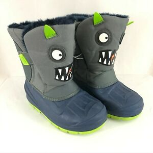 Cat & Jack Toddler Boys Huxley Boots Water Resistant Faux Fur Lined Monster 12