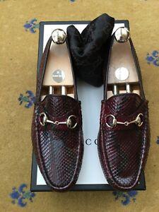 New Gucci Mens Shoes Red Leather Snakeskin Horsebit Loafer UK 7 US 8 EU 41