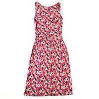 Diane Von Furstenberg Pink Blue Squares Geometric Sleeveless Jersey Dress Sz 4