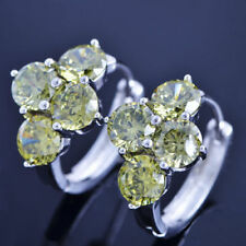 Pretty New White Gold Filled Peridot Green 4 Gemstone CZ Huggie Hoop Earrings
