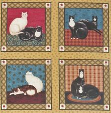 "Black White Warren Kimble Cat Panel 5"" quilt block squares Cotton Fabric"