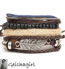 Set of 4 Leather Feather Wrap Surfer FriendshipWristband Bracelet SilverUK