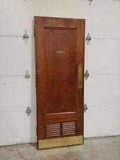 Vtg Mahogany Wood Mens Bathroom Door, Louvers Brass Corbin Push Plate Restroom
