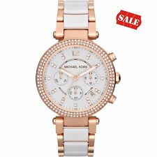 NEW GENUINE MICHAEL KORS MK5774 WHITE ROSE GOLD PARKER CHRONOGRAPH WOMEN'S WATCH