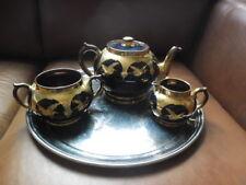 BEAUTIFUL GASLEY BURSLEM 3 PIECE TEA SET DEEP BLUE WITH GILT CRAINS