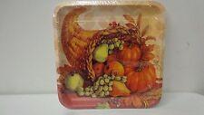 Thanksgiving Cornucopia Paper Plates 10pcs/pack Square Autumn Fall Design NEW I1