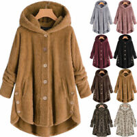Women Teddy Bear Fleece Hooded Coat Fur Fluffy Jacket Jumper Outwear Plus Sized