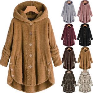 Plus Women's Tops Teddy Bear Fleece Hooded Coat Fur Fluffy Jacket Winter Outwear