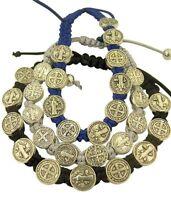 Saint Benedict Evil Protection Medal Bracelet Black, Grey, Blue, Set of 3, 8 In