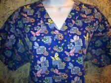 Blue butterfly scrubs nurse medical dental uniform top pullover women M ABSOLUTE
