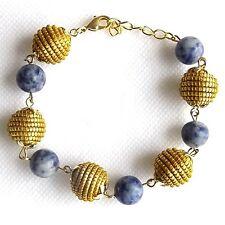 CAPIM NATURAL VEGETABLE GOLD BRACELET BLUE SODALITE BEADED GOLDEN GRASS SPHERES