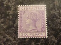 GIBRALTAR POSTAGE STAMP SG13 SIX PENCE 1887 LILAC UN MOUNTED MINT