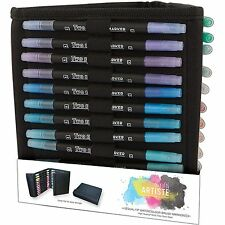 ARTISTE WATERCOLOUR PENS & CADDY 36 PACK DUAL TIP BRUSH & FINE MARKER CARRY CASE