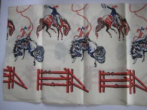 "1950's CREPE PAPER TABLE CLOTH FOR BOY'S BIRTHDAY PARTY -  ""COWBOYS"" - 52"" X 60"