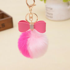 Pink Rabbit Bow Fur Pom-pom Key Chain Bag Charm Ball Bow Key Ring Pendant