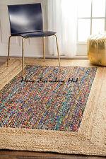5 x 8 Ft Jute Cotton Braided Floor Reversible Handmade Decorative Carpet Rag Rug