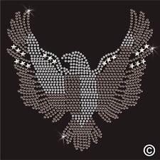 Eagle Rhinestone Diamante Transfer Iron On Hotfix Gem Crystal TShirt Motif Bling