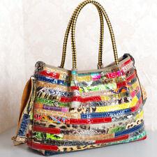 Women 100% Genuine Leather Snake Stripes Colorful Handbag Shoulder Satchel Tote