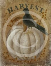 Primitive Fall Autumn Pumpkin Pumpkins Crow Harvest Print 8x10