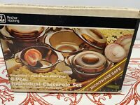 NOS Mint In Box 8 Piece Individual Casserole Set Harvest Amber Anchor Hocking