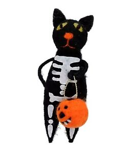Gisela Graham Wool Skeleton Cat with Pumpkin Hanging Halloween Decoration