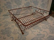 Vintage RED Plastic Coated Wire Rack DISH DRAINER (17) Plates