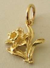 SOLID  9K  9ct Yellow  Gold  DAFFODIL  FLOWER  CHARM/PENDANT