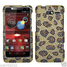 MOTOROLA Droid Razr M xt907 DIAMOND SNAP-ON HARD CASE COVER ACCESSORY LEOPARD