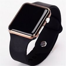 Free Gift Bag Sport Rubber Black Strap Ladies Men's LED Digital Watch Gold Case