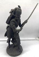 Antique Cast Metal Scottish Highlander Military Sculpture Soldier Russian Troy