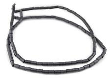 Dark Grey Tube Natural Wood Beads 7x5mm 16 Inch Strand