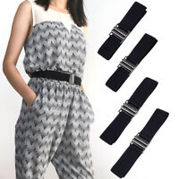 Damen Elastisch Gürtel mit Flache Schnalle Mode Unsichtbar Taillengürtel Schwarz
