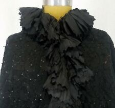 Antique Victorian Silk Cape Suede Appliqués Beads Sequins Mourning Steampunk
