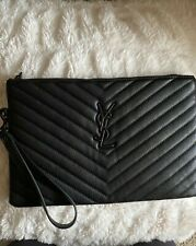 YSL Monogram Quilted Pouch Wristlet Wallet, Black
