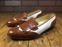 COLE HAAN White/Brown Leather Tassel Loafers Slip On Shoes ITALY MADE Size 9 D