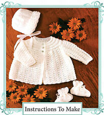 Vintage Visage knitting pattern-how to make pretty baby hat booties jacket set