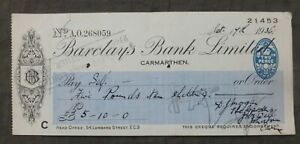 Oct, 1936, Cheque, Carmarthen, Wales ( Barclays Bank Limited )