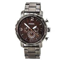 Fossil JR1355 Men's Nate Chrono Brown Dial Steel Bracelet Quartz Watch