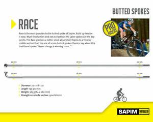 Sapim RACE BLACK J Bend Double Butted Spoke 2.0-1.8-2.0 inc nipples Custom sizes