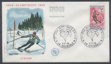 FRANCE FDC - 1547 3 JO SKI SLALOM - GRENOBLE 6 Février 1968 - LUXE
