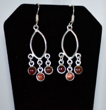 Metal Garnet Stone Chandelier Hook Earrings Fashion Jewelry Silver Tone