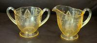 Fostoria Glass TROJAN  Pattern Topaz Footed Sugar & Creamer 1929-1944
