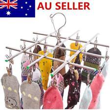 20 Pegs Swivel Hook Stainless Steel Socks Hanger Bra Drying Rack Clothes Hanging