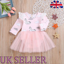 Infant Newborn Baby Grils Pink Swan Lace Tulle Jumpsuit Romper Playsuit Bodysuit