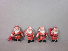 Vintage Plastic Miniature Gardening SantaFigurines Made In Hong Kong 4-Piece Set