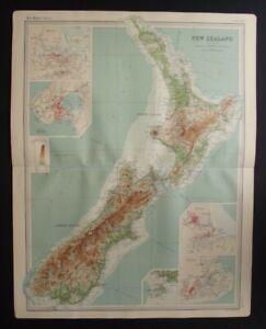 Antique Map: New Zealand by John Bartholomew, Times Atlas, 1920, Colour